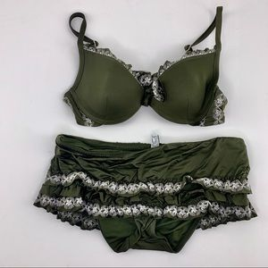 BECCA Olive Green Ruffle Pushup Bikini Embroidered